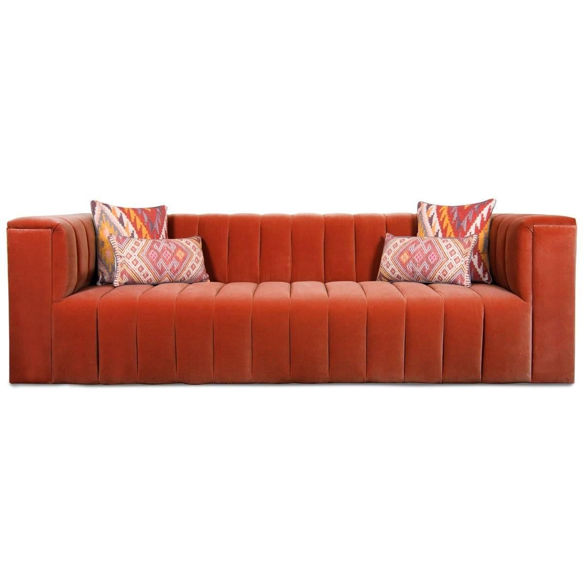Etonnant Mid Century Style Paprika Velvet Fat Channel Tufted Chunky Thick Sofa For  Sale At 1stdibs