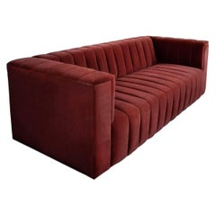 Midcentury Style Merlot Velvet Fat Channel Tufted Chunky Thick Sofa
