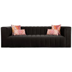 Midcentury Style Black Velvet Fat Channel Tufted Chunky Thick Sofa