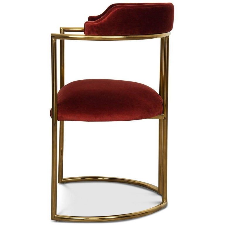 Chinese Modern Style Acapulco Dining Chair Brass Frame Merlot Velvet Upholstery For Sale