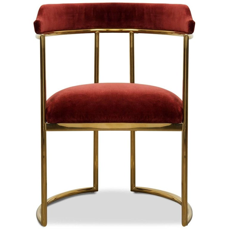 Meet the Acapulco 2 dining chair, the newest version of the popular Acapulco dining chair. As the perfect accent for your modern dining room, the Acapulco 2 is upholstered in your choice of colored velvet with beautiful curved brass legs and a