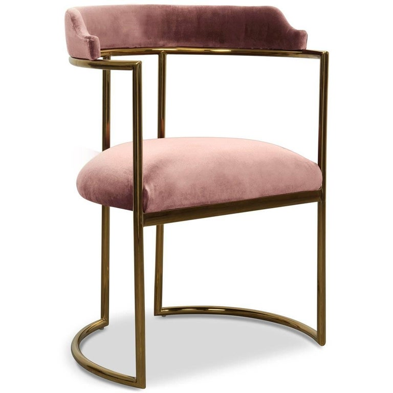 Modern Style Acapulco Dining Chair Brass Frame Mauve Velvet Upholstery In New Condition For Sale In Compton, CA