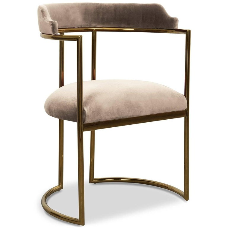 Modern Style Acapulco Dining Chair Brass Frame Sharkskin Velvet Upholstery In New Condition In Compton, CA