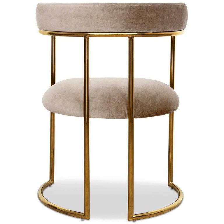 Chinese Modern Style Acapulco Dining Chair Brass Frame Sharkskin Velvet Upholstery