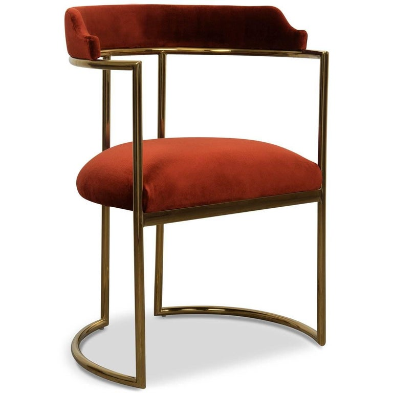 Modern Style Acapulco Dining Chair Brass Frame Paprika Velvet Upholstery In New Condition For Sale In Compton, CA