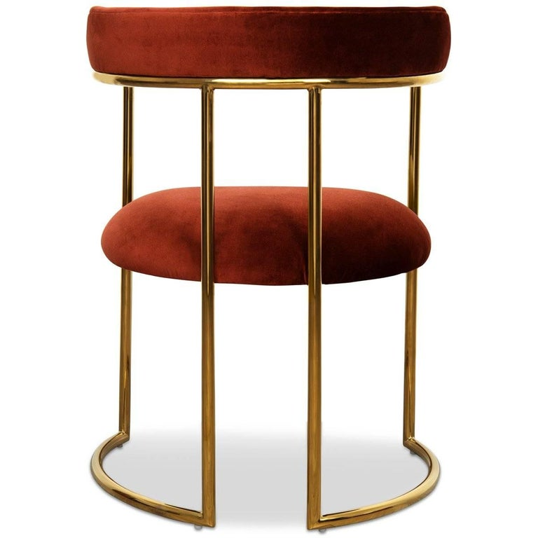 Chinese Modern Style Acapulco Dining Chair Brass Frame Paprika Velvet Upholstery For Sale
