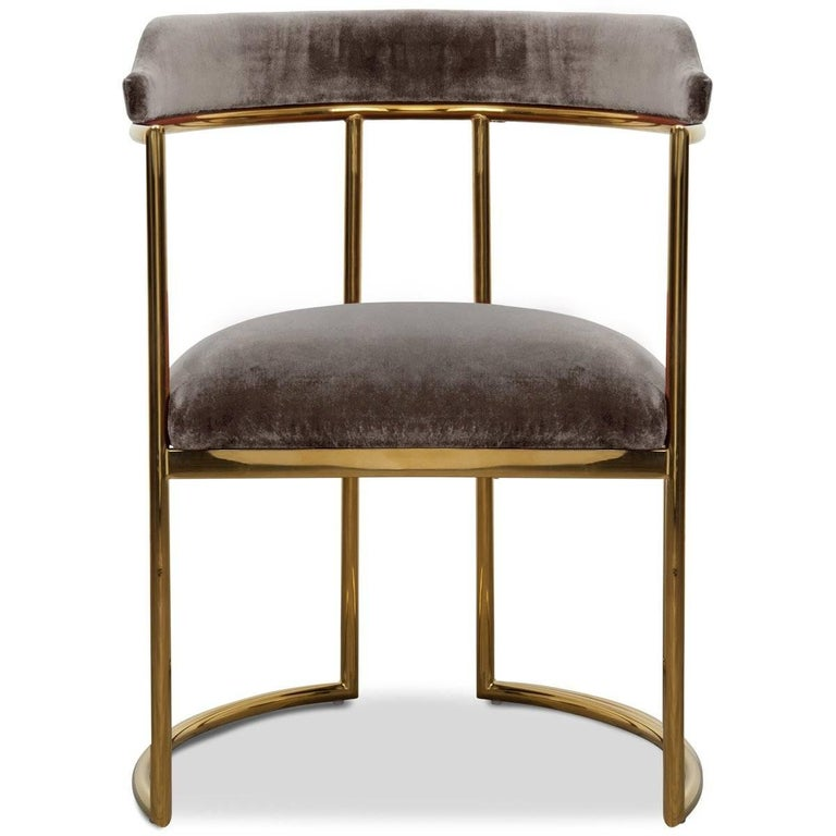 Meet the Acapulco 2 dining chair, the newest version of the popular Acapulco dining chair. As the perfect accent for your modern dining room, the Acapulco 2 is upholstered in your choice of colored velvet with beautifully curved brass legs and a