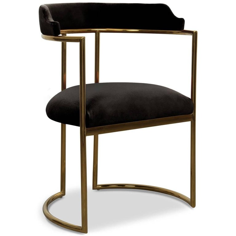 Modern Style Acapulco Dining Chair Brass Frame Black Velvet Upholstery In New Condition For Sale In Compton, CA