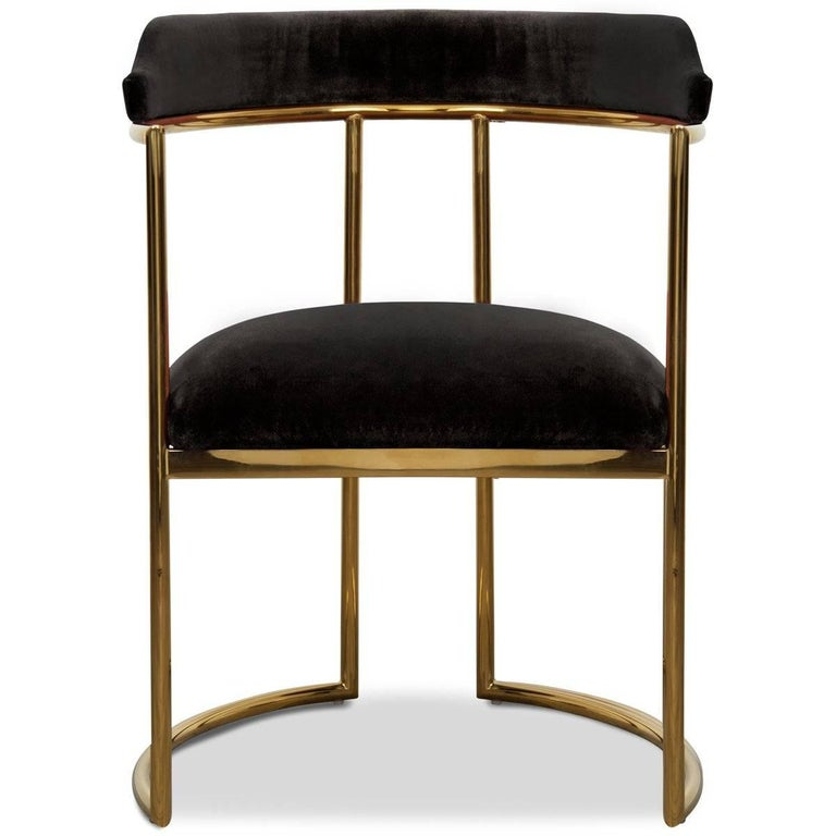Meet the Acapulco two dining chair, the newest version of the popular Acapulco dining chair. As the perfect accent for your modern dining room, the Acapulco 2 is upholstered in your choice of colored velvet with beautifully curved brass legs and a