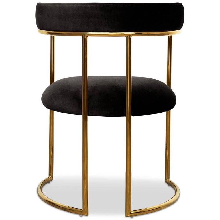 Chinese Modern Style Acapulco Dining Chair Brass Frame Black Velvet Upholstery For Sale
