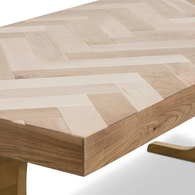 Modern Wood Dining Table With Bleached Walnut Herringbone