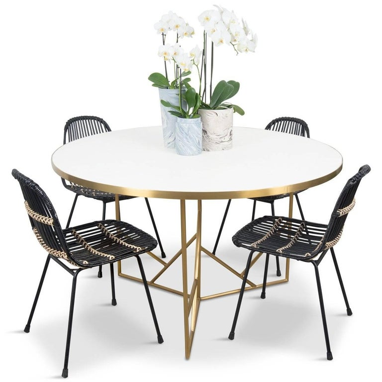 Modern Midcentury Dining Table White Concrete Top And