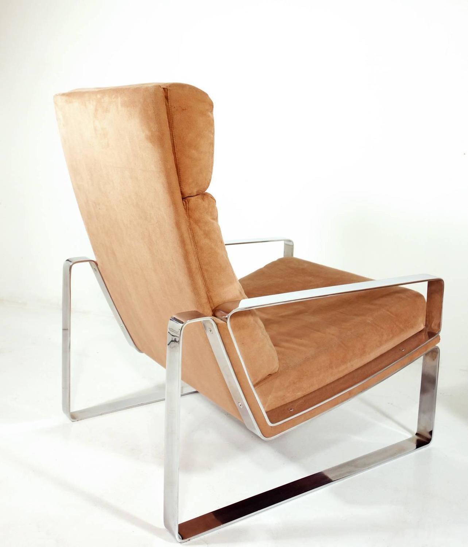 Chrome Lounge Chair and Ottoman at 1stdibs