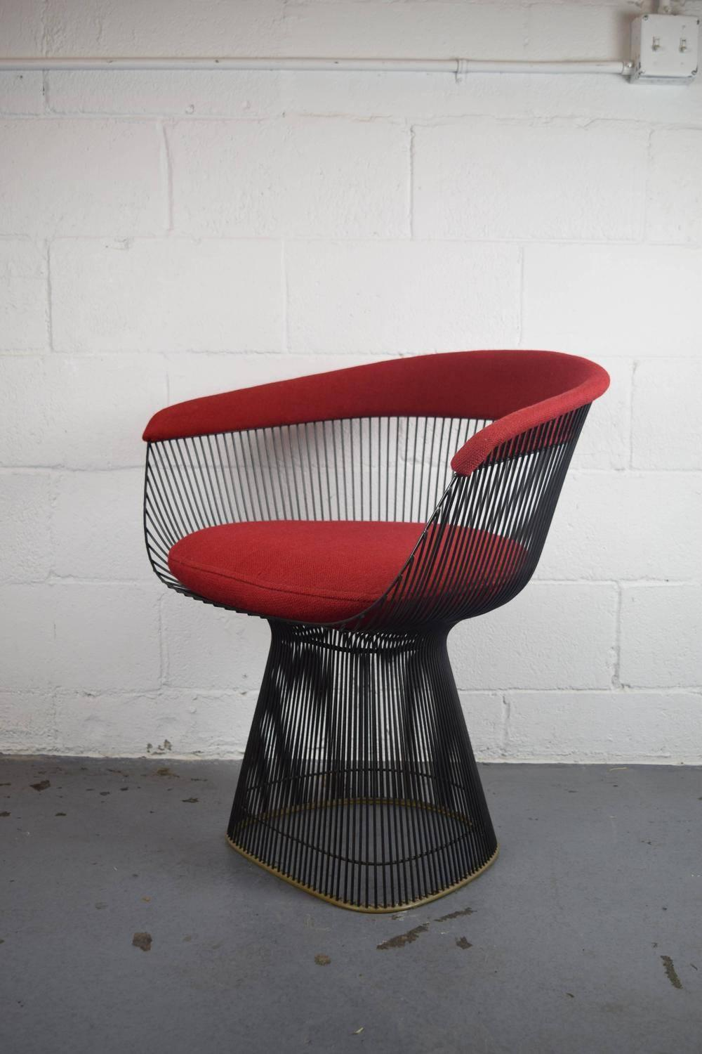 Set Of Four Warren Platner For Knoll Bronze Dining Chairs