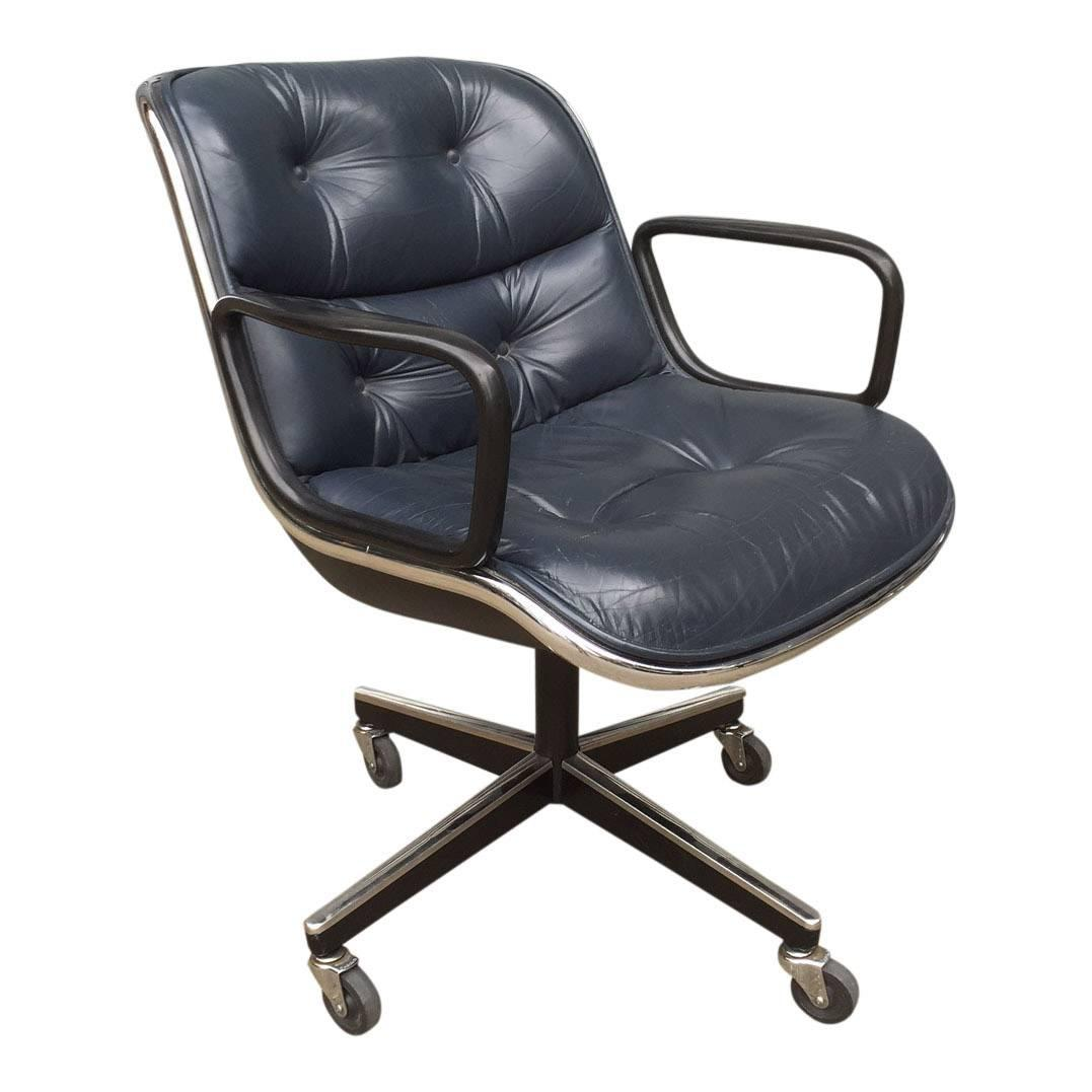 charles pollock for knoll black leather office chairs ten available