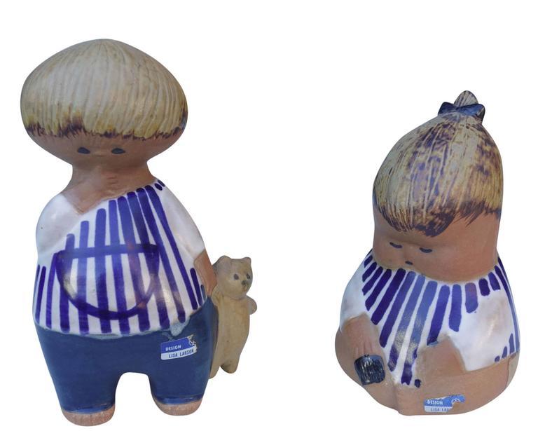 Scandinavian Modern Adorable Mid-Century Ceramic Children by Lisa Larson For Sale