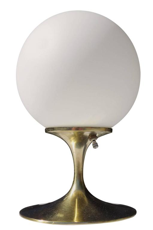 American Mid-Century Brass Tulip Table Lamp by Laurel Co. For Sale