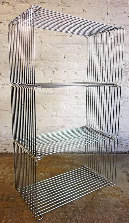 Rare Mid-Century Verner Panton Pantonova wire cube for Fritz Hansen. They can be used as a stool or side table. Multiples can be configured into a wall unit.