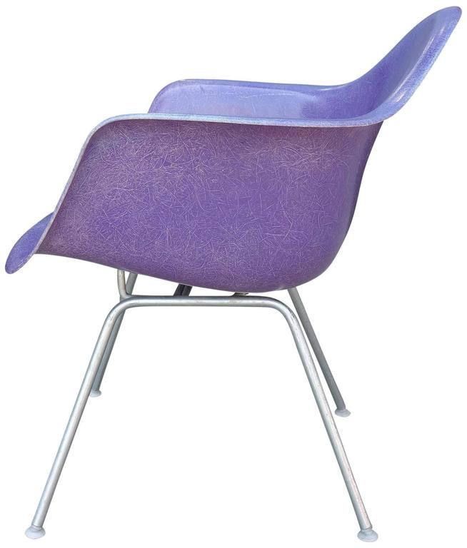 Mid-Century Eames LAX lounge armchair in rarest purple color  The rarest color known. In fact only 25 chairs in this color have been documented and most are in private collections. For many years it was a rumor that they existed. Many collectors