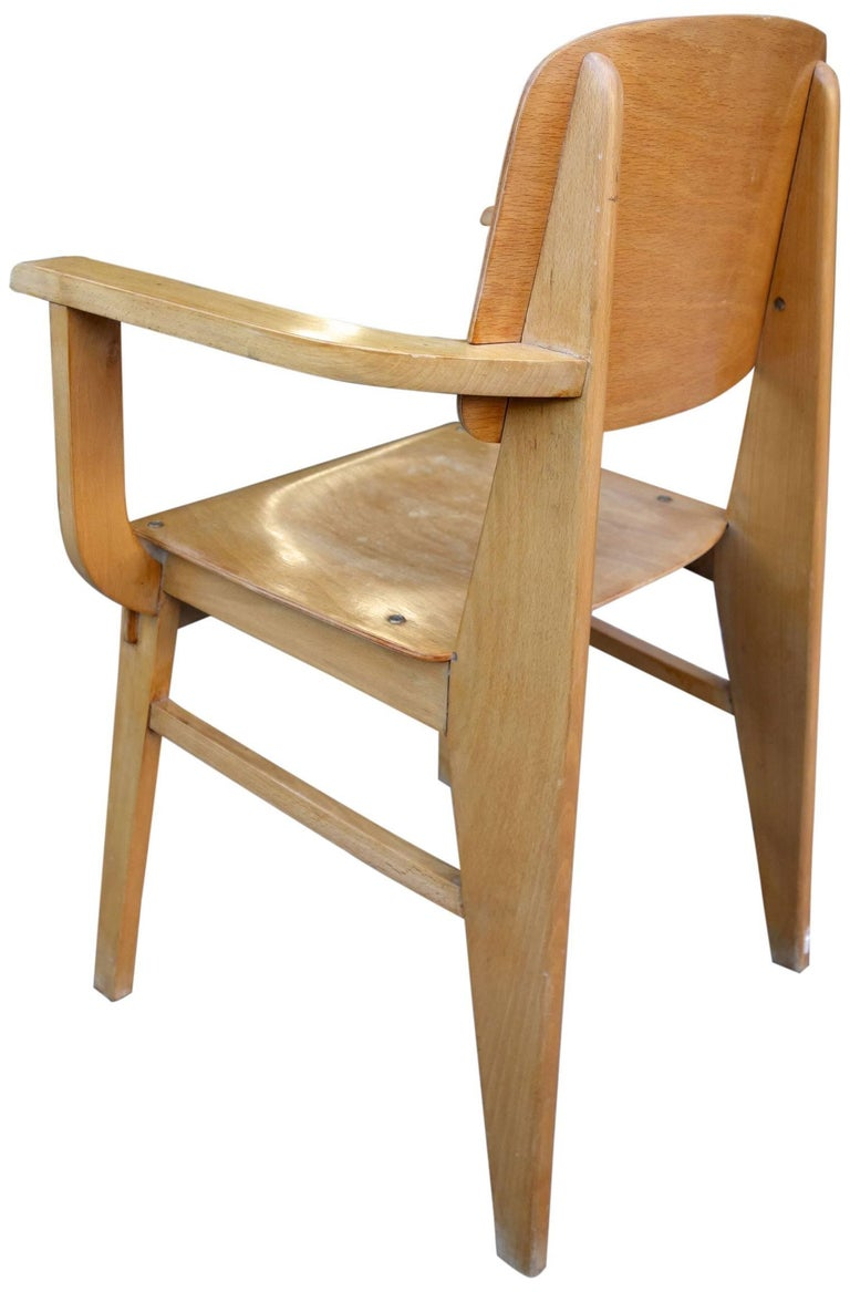 Mid century jean prouvè all wood standard armchair for
