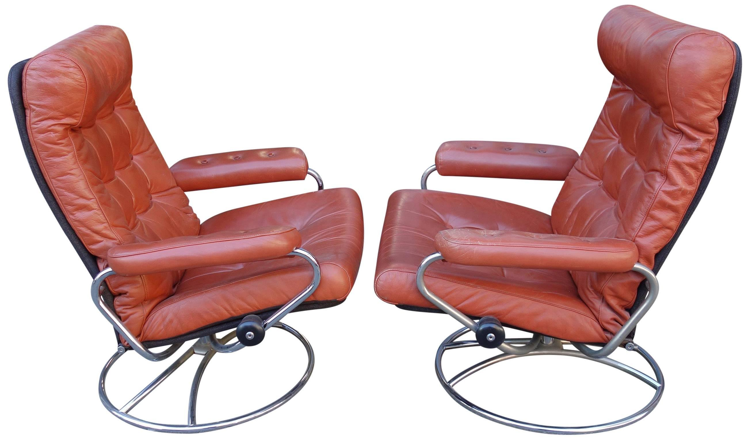 Norwegian Midcentury Reclining Stress Less Lounge Chairs And Ottoman By  Ekornes For Sale