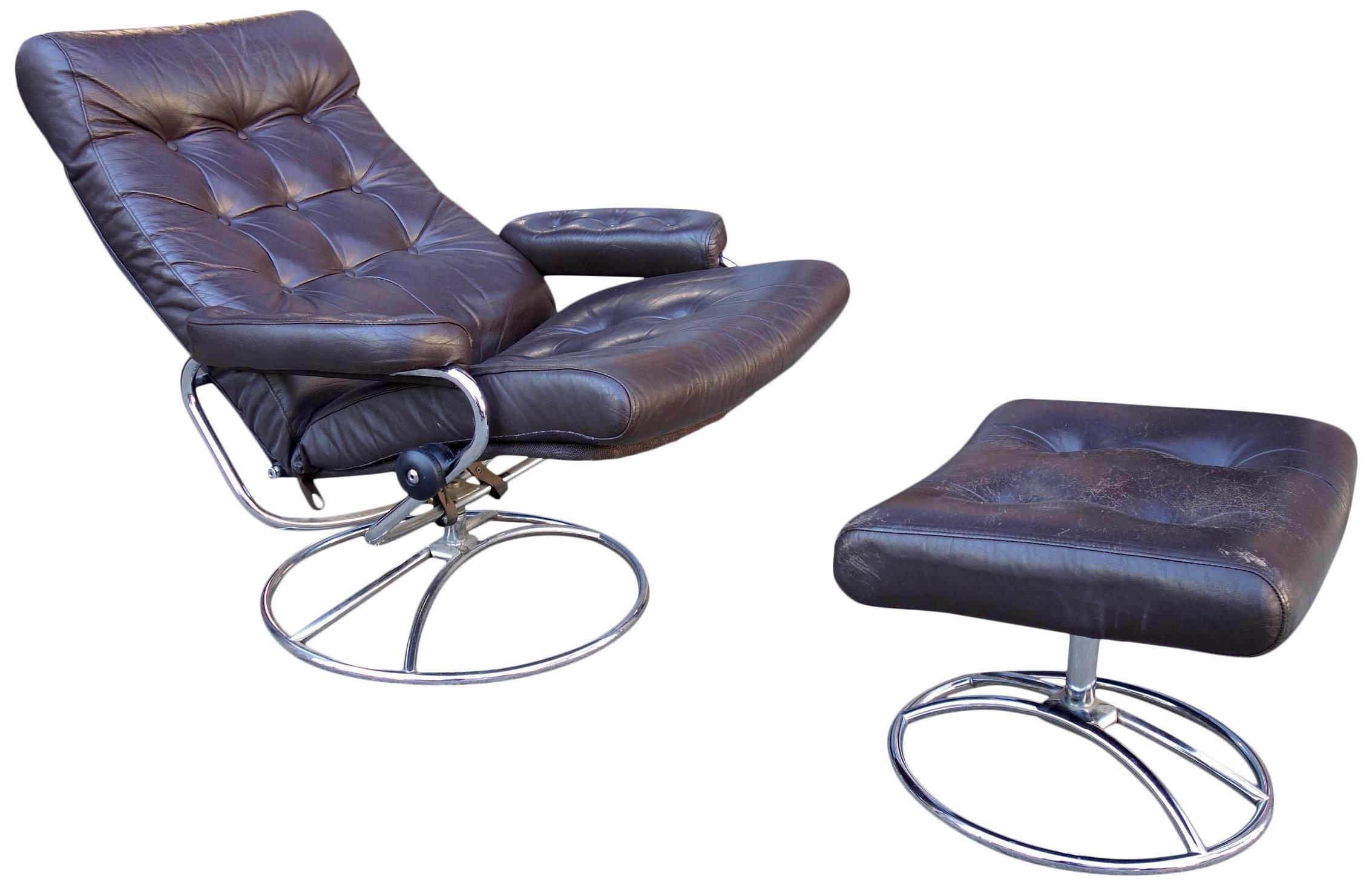Scandinavian Modern Midcentury Reclining Stressless Lounge Chair And  Ottoman By Ekornes For Sale