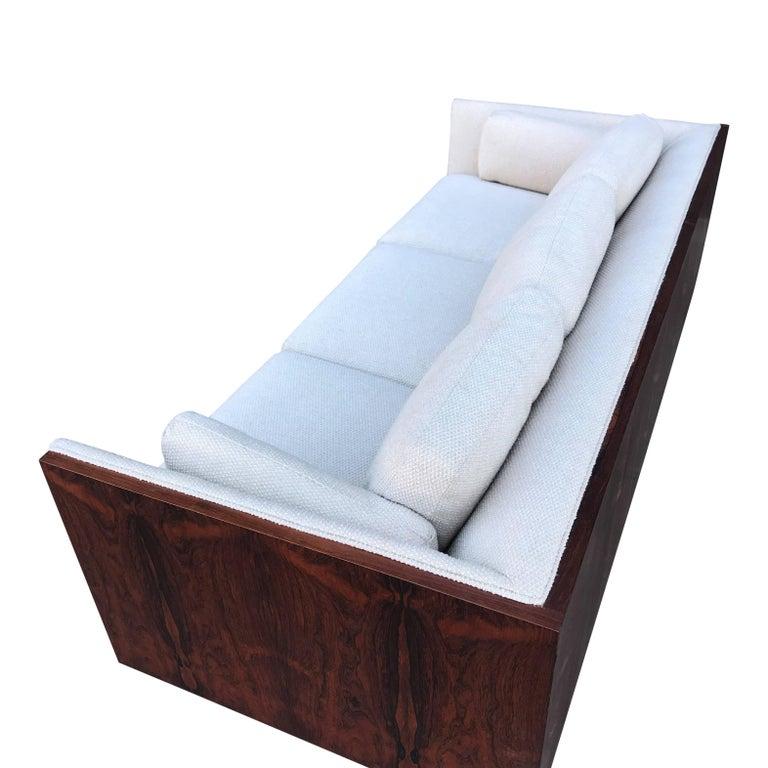 Veneer Milo Baughman for Thayer Coggin Case Sofa in Rosewood For Sale