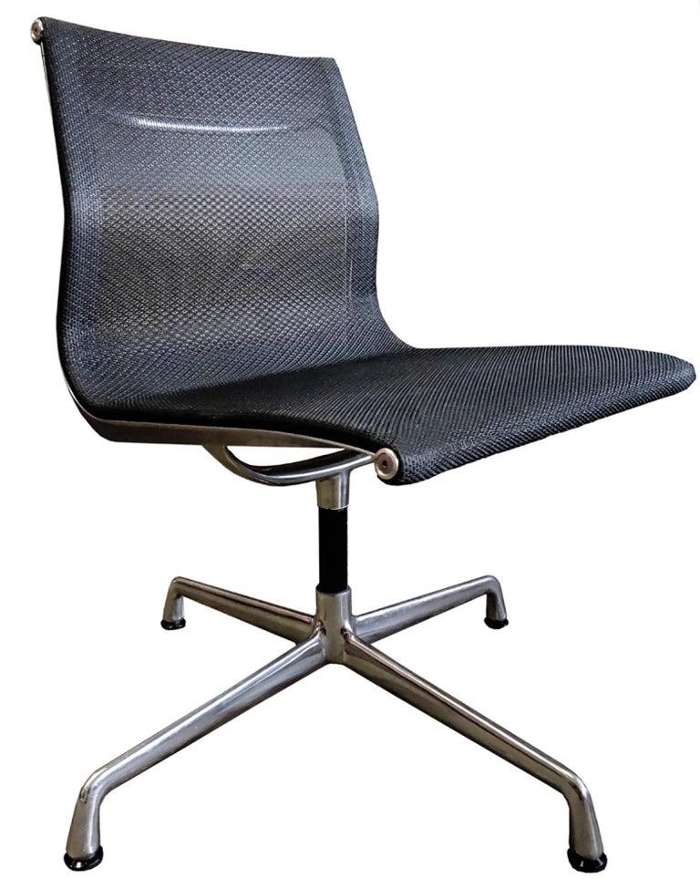 For your consideration are up to 24 midcentury Eames side chairs upholstered in mesh with no arms. Elegance and comfort separates this iconic chair from the rest. First produced in 1958 and still in production makes this one of the most sought after