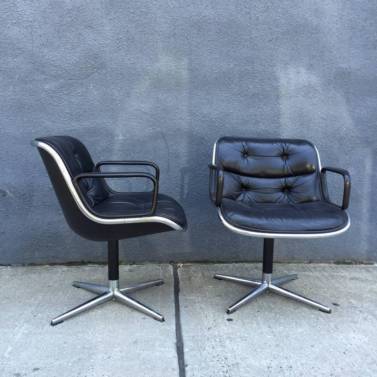 American Pair of Early Charles Pollock for Knoll Accent Chairs For Sale