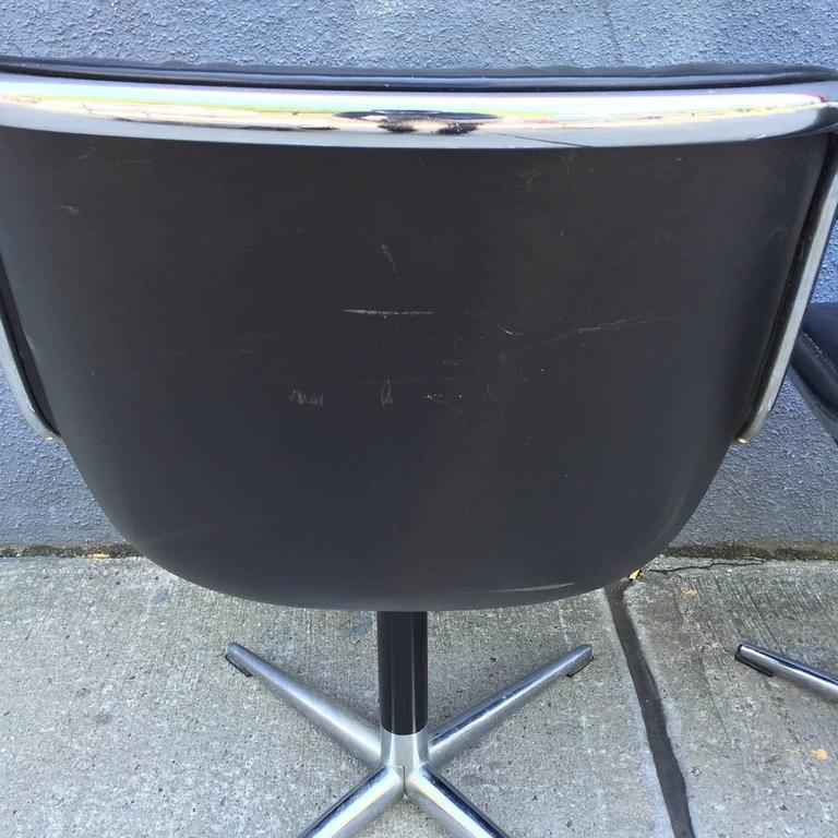 Aluminum Pair of Early Charles Pollock for Knoll Accent Chairs For Sale