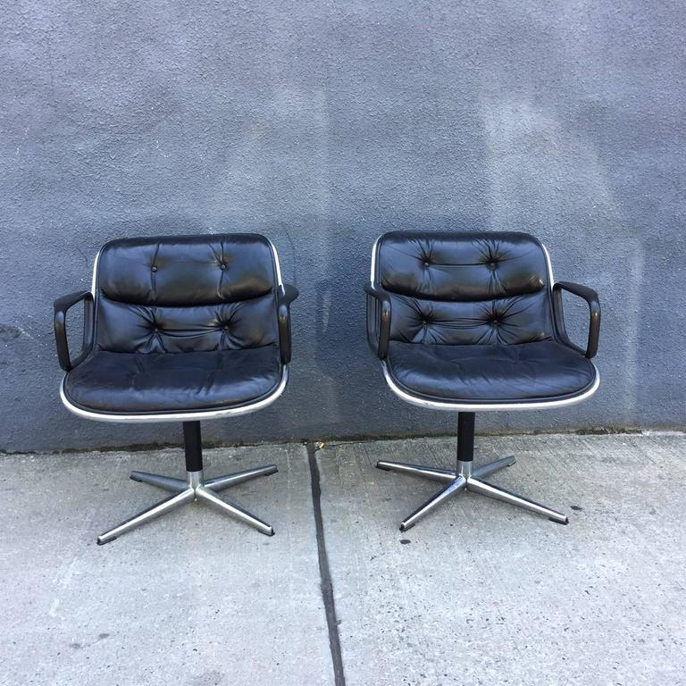 For you consideration is a pair of vintage Charles Pollock for Knoll accent chairs.