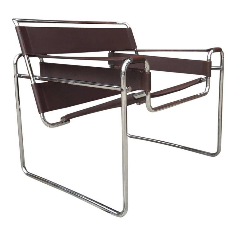 authentic wassily chairs by marcel breuer produced by gavina imported by knoll at 1stdibs. Black Bedroom Furniture Sets. Home Design Ideas