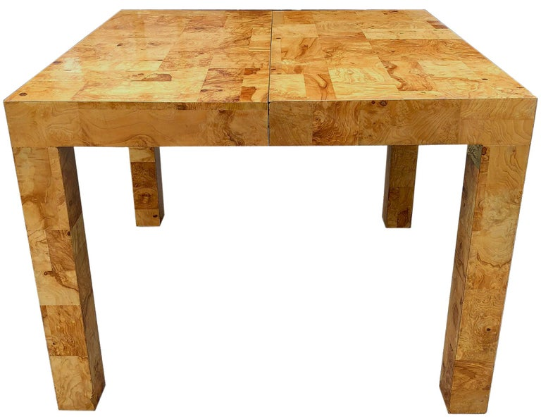 Signed Mid-Century Paul Evans Burl Patchwork Dining Table In Excellent Condition For Sale In BROOKLYN, NY