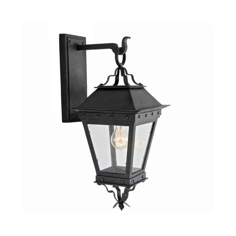 New Spanish Wrought Iron Exterior Arm Mount Wall Lantern by Britt Jewett For Sale
