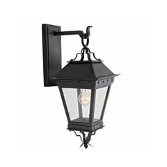 New Spanish Wrought Iron Exterior Arm Mount Wall Lantern by Britt Jewett, Grey