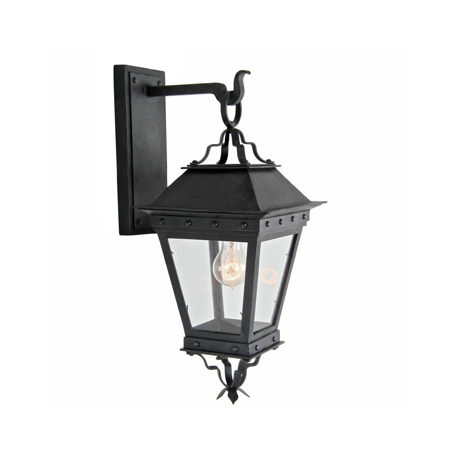 New Spanish Wrought Iron Exterior Arm Mount Wall Lantern by Britt Jewett For Sale at 1stdibs