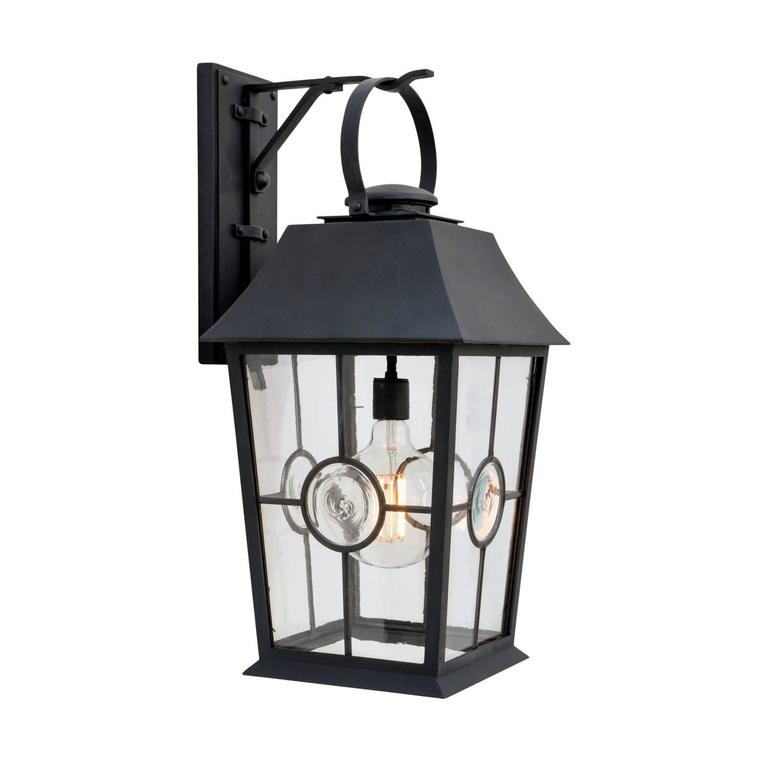 New Large Iron Exterior Arm Mount Wall Lantern with Leaded Glass, Tanya Holroyd For Sale