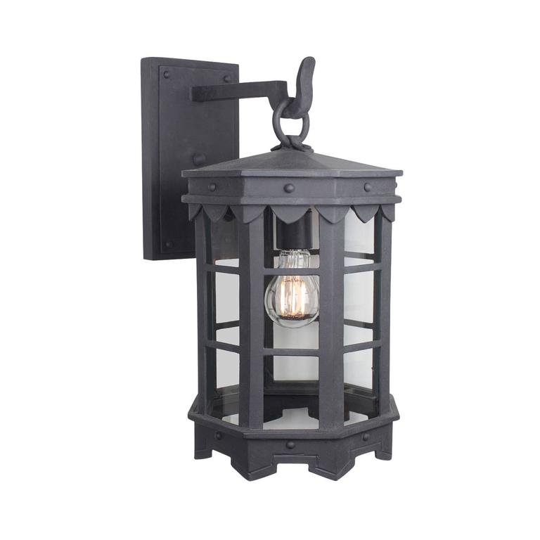 Detailed Spanish Wrought Iron Exterior Outdoor Arm Mount Lantern by Britt Jewett For Sale
