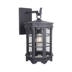 Detailed Spanish Wrought Iron Exterior Outdoor Arm Mount Lantern, Grey