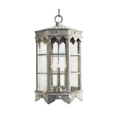 New Large Exterior Iron Pendant Lantern in Brushed Nickel by Britt Jewett