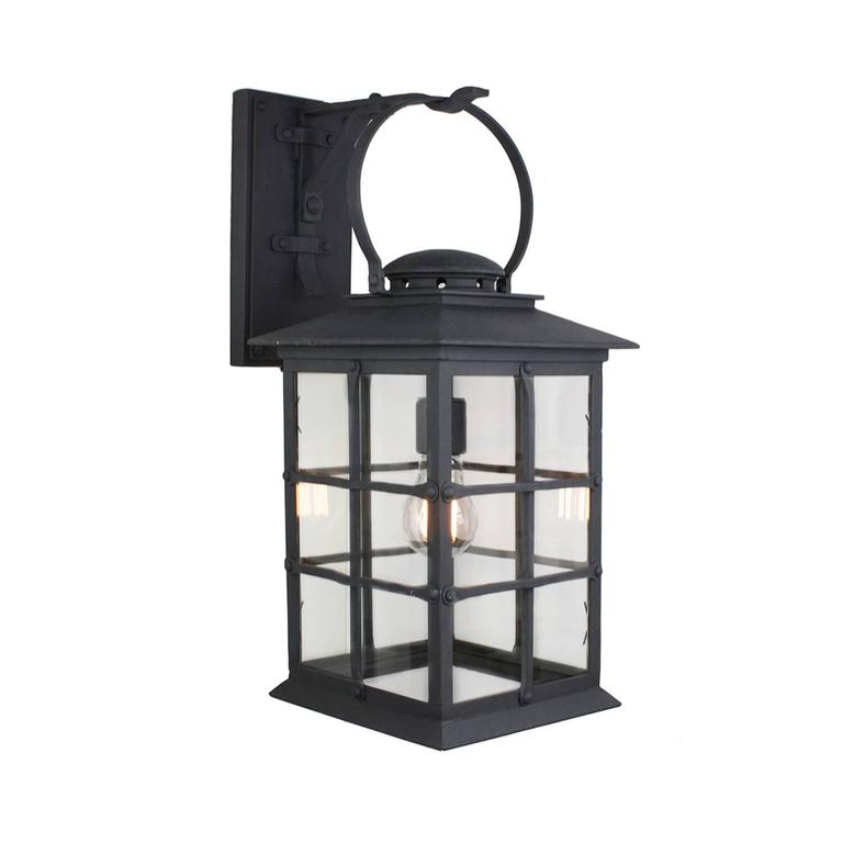 Mission Style Exterior Wrought Iron Wall Mount Lantern  For Sale