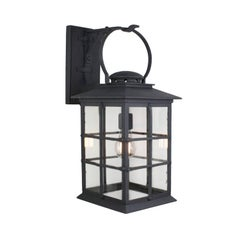 Mission Style Exterior Wrought Iron Wall Mount Lantern, Grey