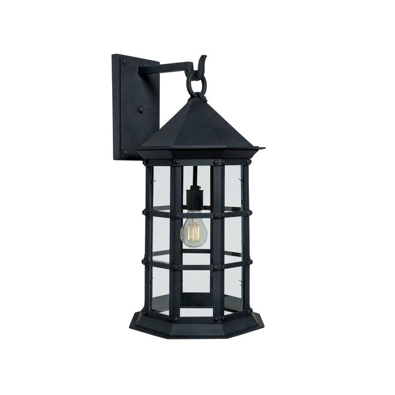 Colonial mission revival wrought iron exterior wall sconce for Colonial exterior lighting