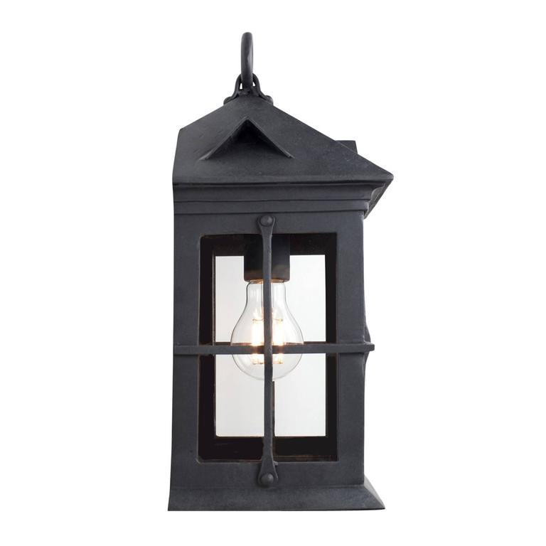 Colonial Revival Craftsman Coastal Exterior Wrought Iron Flush Wall Mount Lantern - Cage Detail For Sale