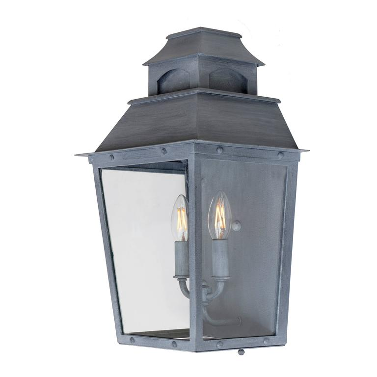 American Colonial Colonial Custom Inspired Wrought Iron Wall Lantern with Premium Dark Zinc Finish For Sale