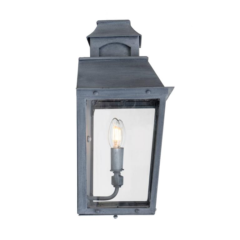 Colonial Custom Inspired Wrought Iron Wall Lantern with Premium Dark Zinc Finish In New Condition For Sale In Santa Barbara, CA