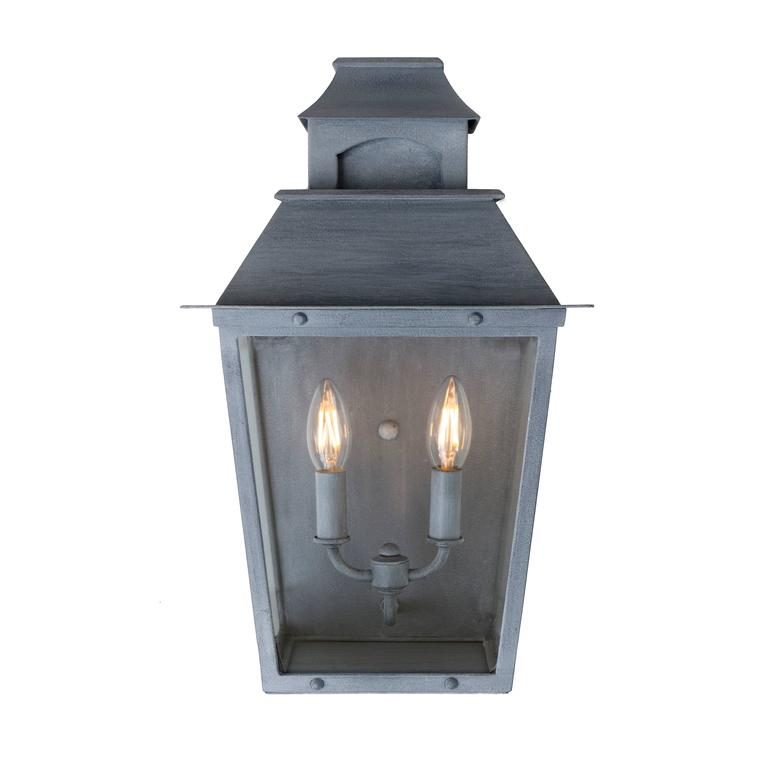 Zinc Wall Sconces : Colonial Inspired Wrought Iron Wall Sconce with Premium Dark Zinc Finish For Sale at 1stdibs