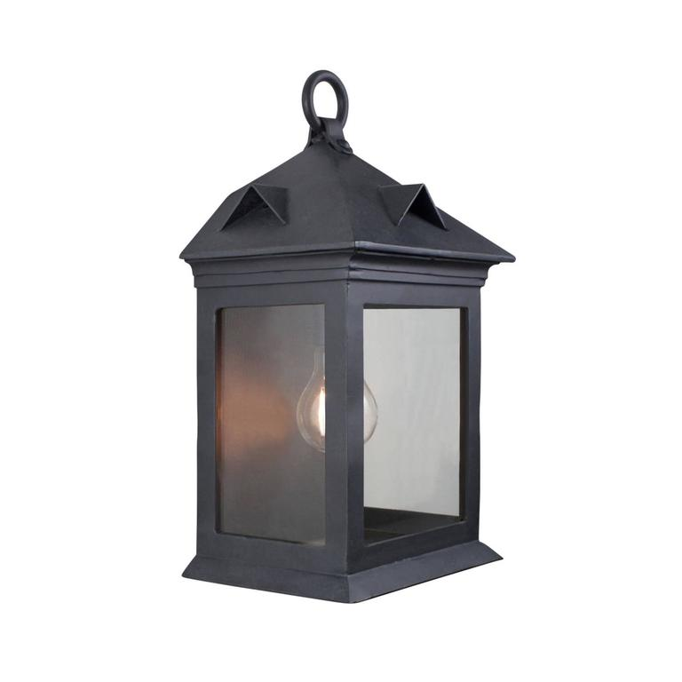 Colonial Revival Craftsman Coastal Exterior Wrought Iron Flush Wall Mount Lantern For Sale