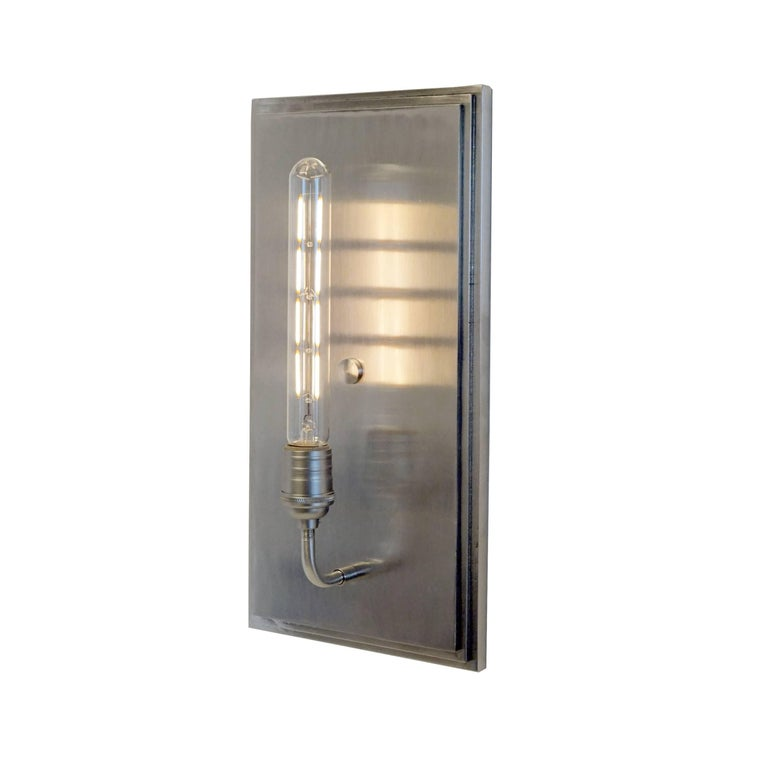 Minimalist Contemporary, Minimal Interior Flat Wall Sconce Lantern in Brushed Nickel For Sale