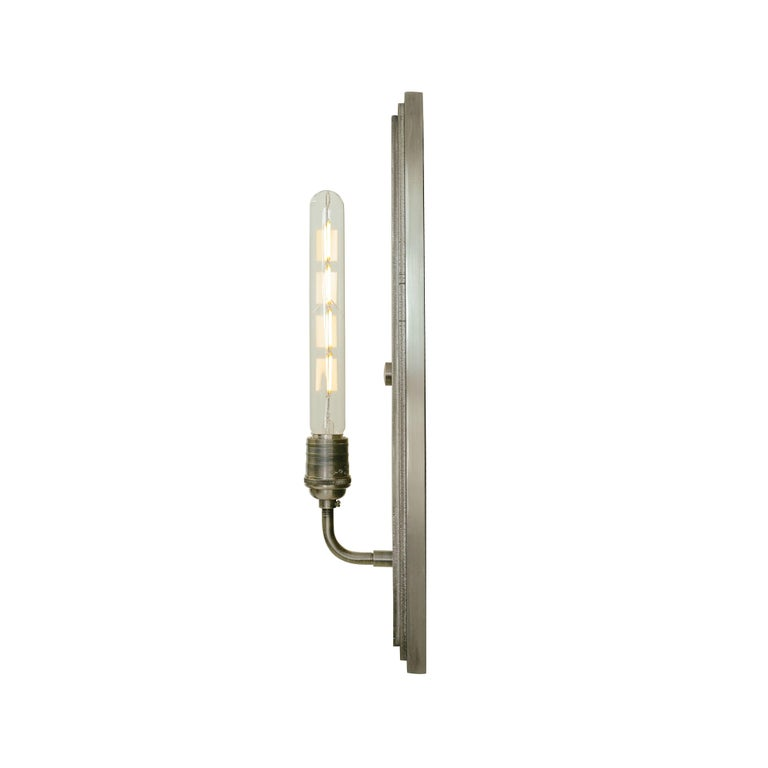 American Contemporary, Minimal Interior Flat Wall Sconce Lantern in Brushed Nickel For Sale